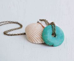 TURQUOISE Circle Necklace Blue Circle of Life Rustic Nature Yoga Charm Necklace