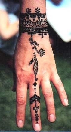 Bohemian hand drawn art cuff