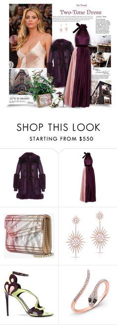 """On Trend: Two-Tone Dresses"" by thewondersoffashion ❤ liked on Polyvore featuring Prada, Philosophy di Lorenzo Serafini, Roksanda, PLANT, Jimmy Choo, Anne Sisteron and Nicholas Kirkwood"