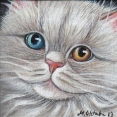 White Odd-eyed Persian Cat - Mini Painting in Acrylics