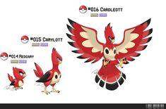 014, 015, 016: Cardinal Bird Fakemon by ~LeafyHeart on deviantART