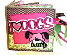 I Love Dogs Scrapbook Paper Bag Album by apicketfencelife on Etsy Dog Scrapbook, Paper Bag Scrapbook, Baby Girl Scrapbook, Scrapbook Albums, Paper Bag Album, Girls Album, Baby Girl Photos, New Baby Girls, Journal Cards