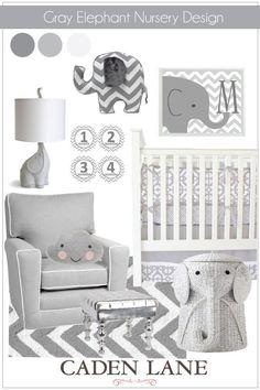 Gray Elephant Nursery Design