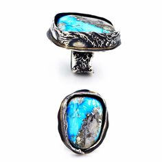 Oxidized Reticulate silver ring, set with Kingman Turquoise.