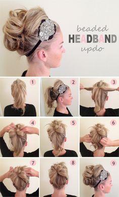DIY Beaded Headband Updo Hairstyle