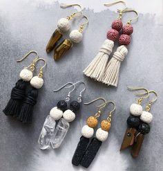 Pink Lava Stone White Tassel Earring 14K gold plated or