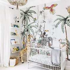 Baby boy nursery room ideas jungle paint Ideas for 2019 Baby Bedroom, Baby Boy Rooms, Baby Room Decor, Baby Boy Nurseries, Nursery Room, Kids Bedroom, Wall Paper Nursery, Bed Room, Girl Nursery