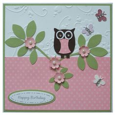 Free P Handmade Owl Happy Birthday Card by Helle Belles Cards