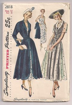 Vintage 50s Dress and Redingote or coat sewing by FrazzledThreads, $30.00