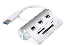Cateck Bus-Powered USB 3.0 3-Port Aluminum Hub with Multi-in-1 3-slots Card Reader Combo for iMac, MacBook Air, MacBook Pro, MacBook, Mac Mini, PCs and Laptops