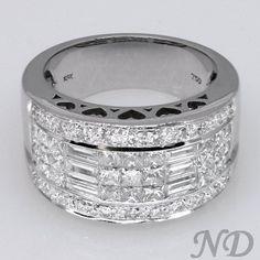 14k White Gold 1 12ct TDW Diamond Anniversary Ring Wedding