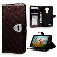 Fashion Case Cover For LG G4 H818 H815 H810 Stand Wallet Flip PU Leather Solid Color Lattice Pattern Phone Shell Skin For LG G4