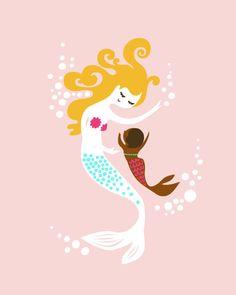 "mermaid mother & baby girl. adoption gift. pink, brown, blonde. 8X10"" giclee print."