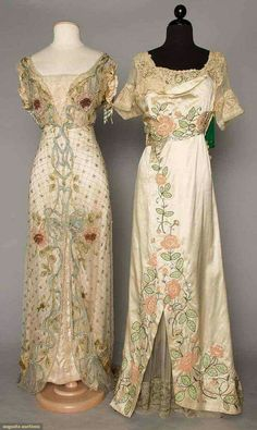 Florsl embroidered trained gowns 1912 (for the WIN)