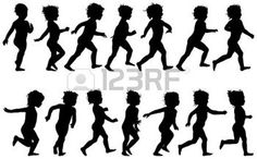 kids playing: child running, black silhouettes, fourteen different postures Illustration