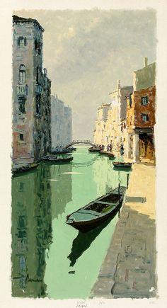 BEPI MARINO Signed Vintage Mid Century Painting RIO DELLA SENSA CANAL, VENICE in art
