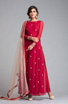 Buy Radiant Red Designer Partywear Embroidered Georgette Suit at Rs. Get latest Partywear suit at Peachmode. Salwar Designs, Blouse Designs, Dress Designs, Indian Attire, Indian Ethnic Wear, Indian Outfits, Anarkali Dress, Pakistani Dresses, Anarkali Suits