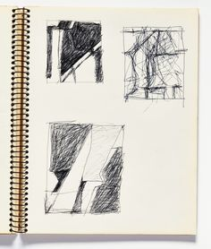 """Richard Diebenkorn, """"Untitled"""" from Sketchbook page 85 ballpoint pen ink on paper (gift of Phyllis Diebenkorn, © The Richard Diebenkorn Foundation) Richard Diebenkorn, Artist Journal, Artist Sketchbook, Sketchbook Pages, Abstract Sketches, Drawing Sketches, Sketching, Drawing Faces, Drawing Tips"""