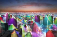 Visualizations of American cities with invisible cellphone signals