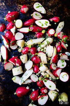 Thyme Roasted Radishes #recipe via FoodforMyFamily.com