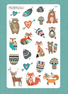 Woodland tribal animal stickers Matte by MadeByMoaIsabel Tribal Animals, Forest Theme, Erin Condren Life Planner, Girls Camp, Animal Party, Woodland Animals, Happy Planner, Art Projects, Clip Art