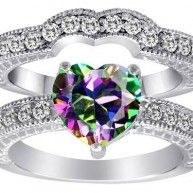I like this one too    Original Star K(tm) 8mm Heart Shape Rainbow Mystic Topaz Wedding Set crafted in .925 Sterling Silver . 1 Stone Heart Shape Mystic Topaz, 34 Stones Round Cubic Zirconia. Metal weight may vary with fing...