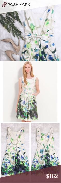 "Kate Spade Jillian Dress Abstract Print ""An attached bow nips in the waistline of a sleeveless cotton dress fashioned with a fitted bodice and a full, pleated skirt."" Bust 16"" • Waist 13"" • Length 36"" kate spade Dresses"