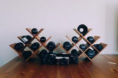 Who knew? Wine racks are perfect for storing, showing off your camera gear