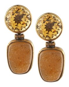 Citrine-Druzy Two-Tier Earrings by Stephen Dweck at Last Call by Neiman Marcus.