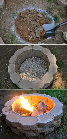 How to build a backyard fire pit. A great tutorial on how to take your backyard to the next-level with a fire pit. Perfect idea just in time for Fathers Day! How to build a backyard fire Backyard Projects, Outdoor Projects, Garden Projects, Diy Projects, Backyard Designs, Project Ideas, Diy Fire Pit, Fire Pit Backyard, Backyard Gazebo