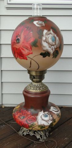 Vintage 1972 Double Globe Frosted Gl Hurricane Lamp Hand Painted Flowers