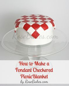 How to Make a Fondant Checkered Blanket - For all your cake decorating supplies… Fondant Tips, Fondant Tutorial, Fondant Cakes, Cupcake Cakes, Fondant Rose, Fondant Baby, 3d Cakes, Fondant Flowers, Fondant Toppers