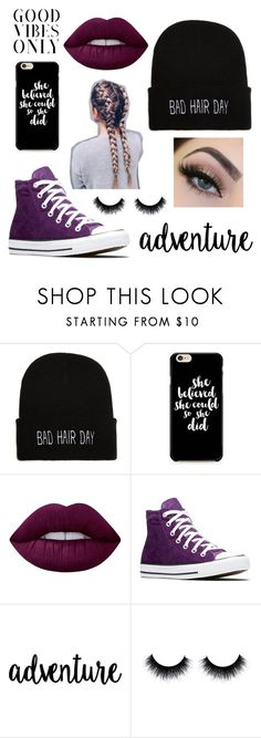 """""""Good vibes only"""" by scarlettnoel03 ❤ liked on Polyvore featuring Caso, Lime Crime and Converse"""
