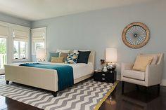 Casa dos sonhos em Los Angeles   Já o quarto do casal foi feito em tons de azul, trazendo tranquilidade para o ambiente (Foto: Divulgação)