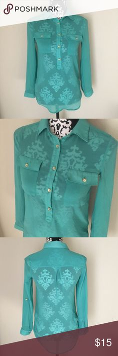 Charlotte Russe Blue Sheer Blouse Size XSmall In gently used condition, no flaws. Charlotte Russe sheer button down blouse. Size X Small Charlotte Russe Tops Button Down Shirts