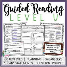 This is a 151 page resource to help teachers plan, instruct, and assess students in a level U guided reading group. It covers 40 teaching fiction and nonfiction objectives that are all linked to Common Core State Standards. There are tons of printable resources for practical use. Just add the books and the students!