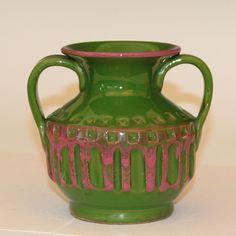 Vintage Pink & Green Bitossi Carved Italian Art Pottery Vase Raymor Netter 1960s