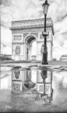 Paris Arch de Triumph Arche de Triomphe France Historical Monument Black and White Monochrome Origin Pencil Sketches Landscape, Pencil Art Drawings, Landscape Drawings, Art Drawings Sketches, City Drawing, Still Life Drawing, Still Life Sketch, London Drawing, Monochromatic Art