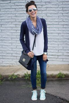 Outfit: White tee + navy cardigan + dark jeans + blue scarf + black cross-body bag + Converse
