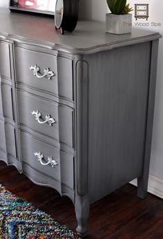 Glazed Gray Dresser Tutorial. https://thewoodspa.wordpress.com/2015/11/27/a-french-provincial-beauty/#utm_sguid=157633,9a3b9aa1-a19c-4392-2132-02131f4c3b3a
