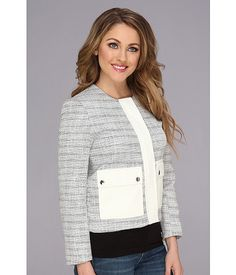 Vince Camuto Two-Pocket Tweed Jacket Light Cream - 6pm.com