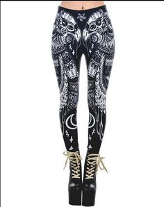 """Cascading from hip halfway to heel, the stark, stylized bird feathers on our graphical and perfectly symmetrical Occult Bird Leggings are decorated with symbols of the occult. But in reality, """"the occult"""" actually refers to. 