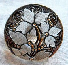 One 27mm Czech translucent glass button, crystal floral pattern with black and gold accents , decorative shank button C59201