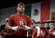 Boxer Canelo Alvarez of Mexico warms up in the ring during his Open Workout at the House of Boxing on August 31, 2016 in San Diego, California. Canelo Alvarez fights Liam Smith of Great Britain for the WBO Junior Middleweight World Championship on September 17, 2016 in Arlington, Texas.
