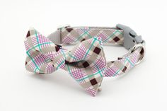 Purple Gray Plaid Dog Bow Tie Collar