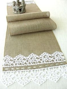 Items similar to Burlap table runner with hand crouched white lace wedding table runner table decor handmade in the USA, Ready to ship on Etsy Sackleinen Tischläufer mit Hand hockte weiß von HotCocoaDesign Dinner Party Table, Dinner Parties, Dinner Menu, Dinner Ideas, Burlap Table Runners, Burlap Lace, Hessian, Christmas Table Settings, Burlap Crafts