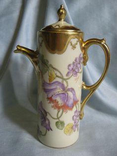 Antique Limoges Elite Works Chocolate Pot~Hand Painted, Signed J.Luca~violets #EliteWorksLimoges :):
