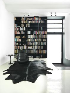 Single wall library with black shelves