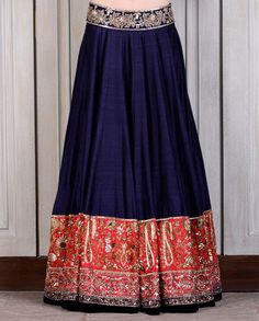 Navy Blue Raw Silk Lehenga with Coral Embroidered Border - Lenghas - Couture - Shop Women
