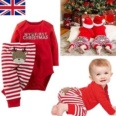 Christmas Newborn Baby Girls Boys Tops Romper + Long Pants Outfits Clothes 0-18M